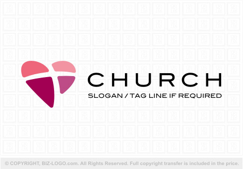 8067: Heart Shaped Church Logo