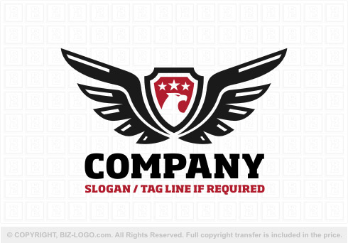 8192: Black and Red Crest Eagle Logo